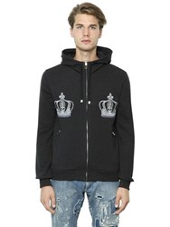 Dolce And Gabbana Hooded Embroidered Cotton Sweatshirt