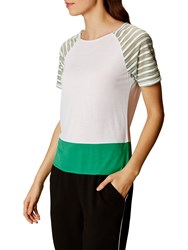 Karen Millen Sheer Stripe Jersey T Shirt White Multi