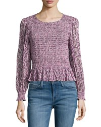 Rebecca Taylor Long Sleeve Batik Ruched Mirage Top Pink Size 6