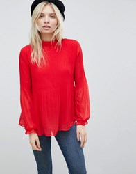 B.Young High Neck Blouse Crimson Red