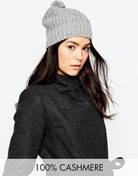 Johnstons 100 Cashmere Aran Cable Hat With Pom Pom Lightgrey
