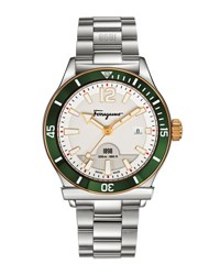 Salvatore Ferragamo 43Mm 1898 Sport Men's Bracelet Watch Green