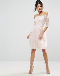 Little Mistress Bardot Embroidery And Sequin Prom Dress Nude Beige