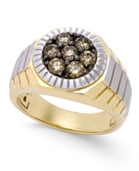 Macy's Men's Two Tone Diamond Ring 1 Ct. T.W. In 10K Gold And Rhodium Plate Brown