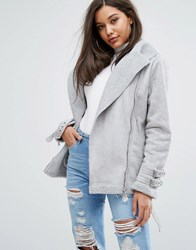 Prettylittlething Faux Suede Aviator Jacket Gray