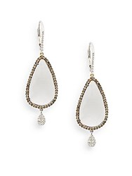 Meira T Pear Shaped White Topaz Brown Diamond And 14K White Gold Earrings