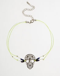 Asos Skull Bead And Cord Choker Necklace Multi