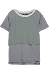 Koral Clarion Layered Chiffon And Stretch Jersey T Shirt Gray Green