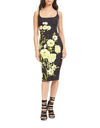 Theia Floral Printed Dress Black Citron