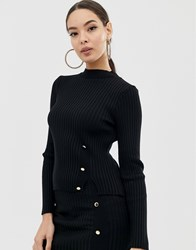 Lipsy Knitted Rib Sweater In Black Two Piece Black