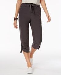 Style And Co Ruched Leg Capri Pants Only At Macy's New Graphite Grey