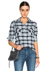 Paige Denim Mya Top In Blue Checkered And Plaid
