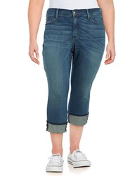 Nydj Plus Whiskered Denim Capri Jeans Oak Hill Blue