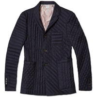 Thom Browne Quilted Mix Down Blazer Navy