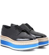 Prada Wingtip Platform Leather Brogues Black
