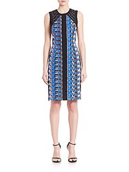 Carmen Marc Valvo Abstract Pebble Crepe Cocktail Dress Cerulean