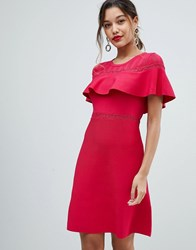 Morgan Bodycon Dress With Frill Overlay Red