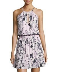 Parker Floral Print Ruffled Halter Dress White Pattern
