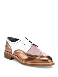 Robert Clergerie Roeltm Metallic Leather And Glitter Oxfords Copper Ocean