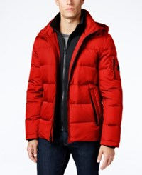Michael Kors Men's Hooded Puffer Coat With Attached Bib Red Ochre