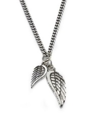 King Baby Studio Double Wing Pendant Necklace Silver