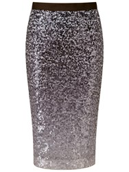 Pure Collection Glazbury Sequin Pencil Skirt Grey Ombre