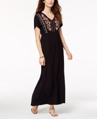 Styleandco. Style Co Petite Embroidered Maxi Dress Created For Macy's Canaba Black