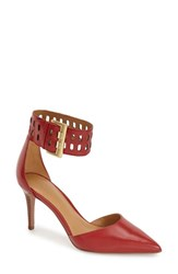 Women's Nine West Ankle Strap Pump Red Leather