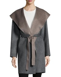 Fleurette Double Face Hooded Wool Wrap Gray Dark Grey