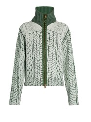 Maison Martin Margiela Cable Knit Print Zip Through Sweater White Multi