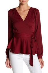 L'academie The Long Sleeve Wrap Blouse Red