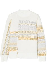 3.1 Phillip Lim Asymmetric Patchwork Metallic Fair Isle Wool Blend Sweater Cream
