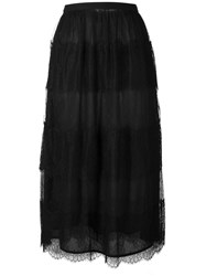 Red Valentino Chantilly Lace Long Skirt Blue