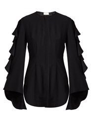Sara Battaglia Collarless Bell Sleeved Cady Blouse Black