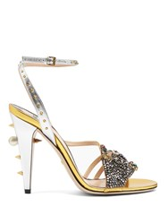 Gucci Wangy Embellished Leather Sandals Silver Gold