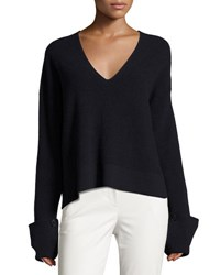 Helmut Lang Ribbed Fluid V Neck Pullover Sweater Navy