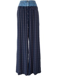 Chanel Vintage Denim Waistband Palazzo Pants Blue