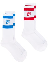 Nike Two Pack Logo Print Socks White