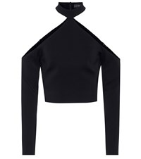 David Koma Cropped Crepe Top Black