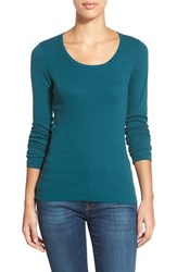 Women's Caslon 'Melody' Long Sleeve Scoop Neck Tee Teal Deep