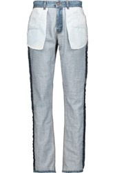 Moschino Inside Out High Rise Straight Leg Jeans Mid Denim