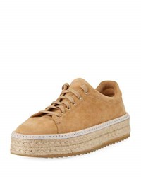 Rag And Bone Kent Suede Lace Up Espadrille Camel Dune Suede