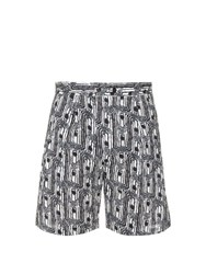 Christophe Lemaire Abstract Print Cotton Shorts Black Multi