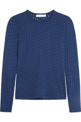 Kain Label Zephyr Perforated Cotton Jersey Top Blue