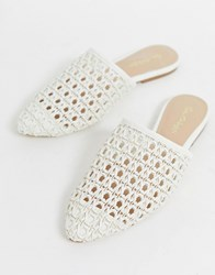 Miss Selfridge Woven Mules In White