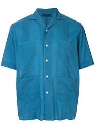 Tomorrowland Short Sleeve Fitted Shirt Blue