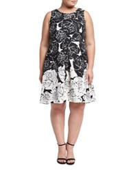 Taylorplus Floral Print Scuba A Line Dress Black