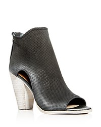Dolce Vita Harem Perforated Open Toe High Heel Booties Anthracite Gray