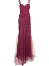 Monique Lhuillier Draped Gown Pink Purple