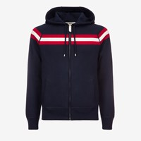 Bally Men's Wool Knitted Hoodie In Ink Blue